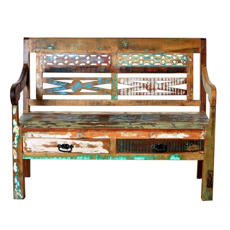 Authentieke houten bank van sloophout