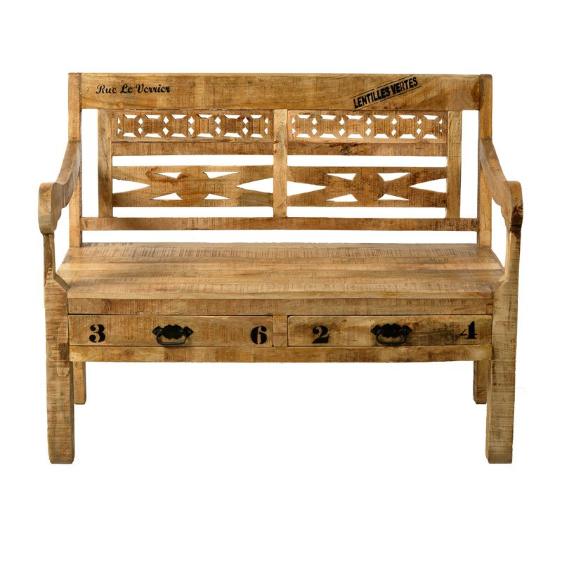 Landelijk houten bankje