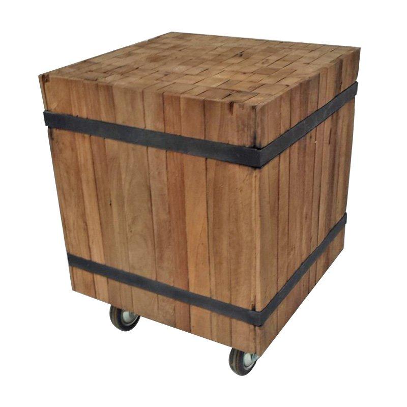 Authentieke landelijke bijzettafel van hout