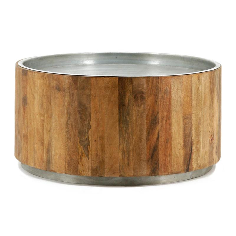 Houten salontafel met zilver