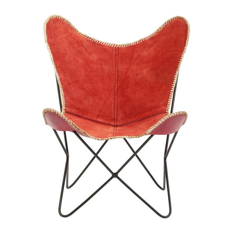 Lounge stoel van rood leer