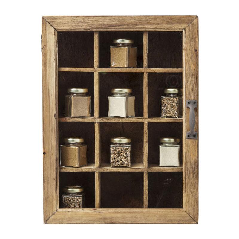 Hangend vitrinekastje van hout