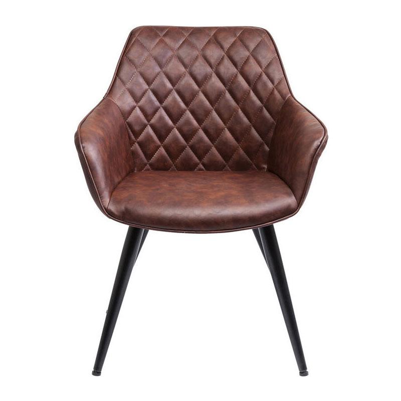 Bruine stoel met stiksels