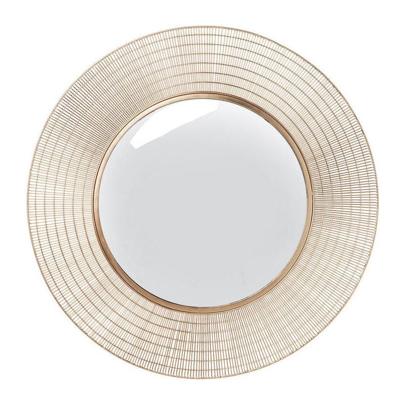 Ronde koperkleurige spiegel