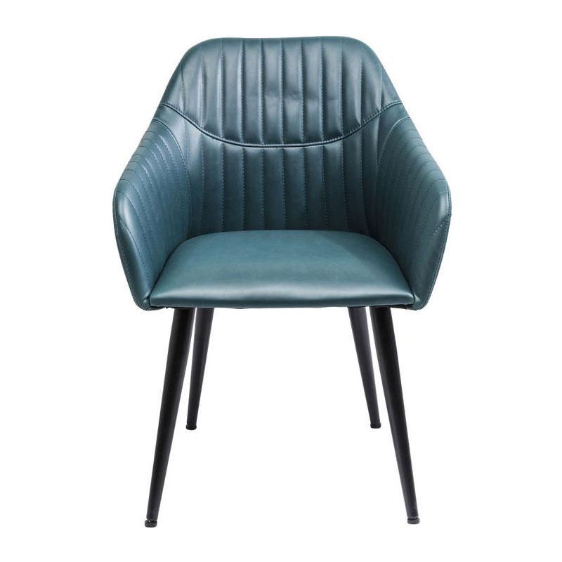 Blauwe stoel met stiksels