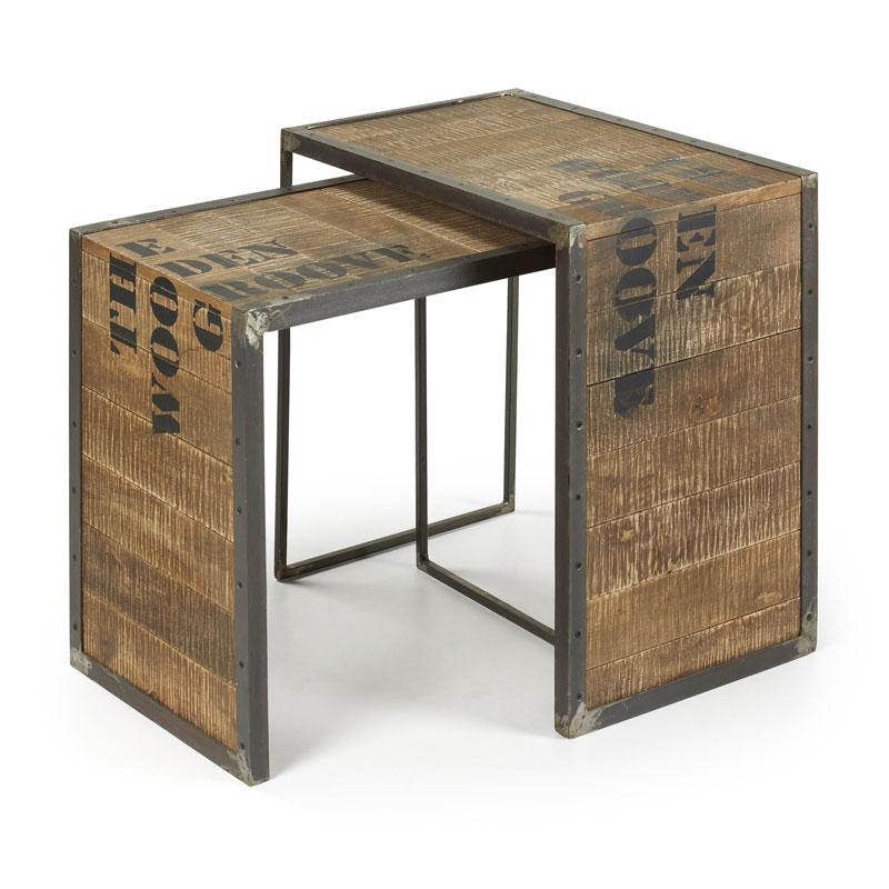 Vintage bijzettafelset van hout