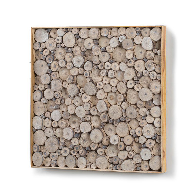 Vierkante houten wanddecoratie