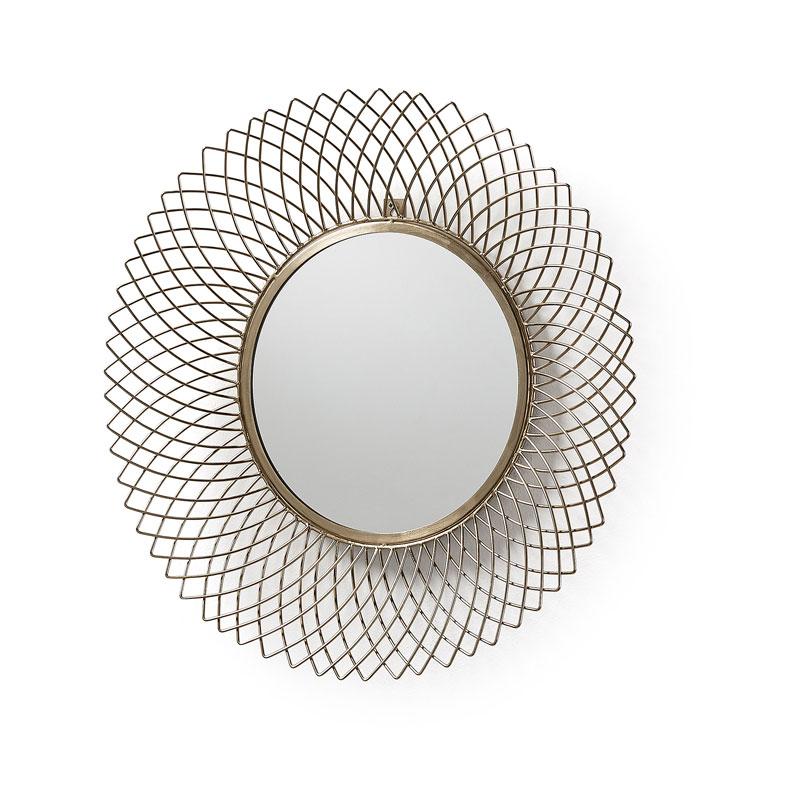 Vintage ronde spiegel van brons