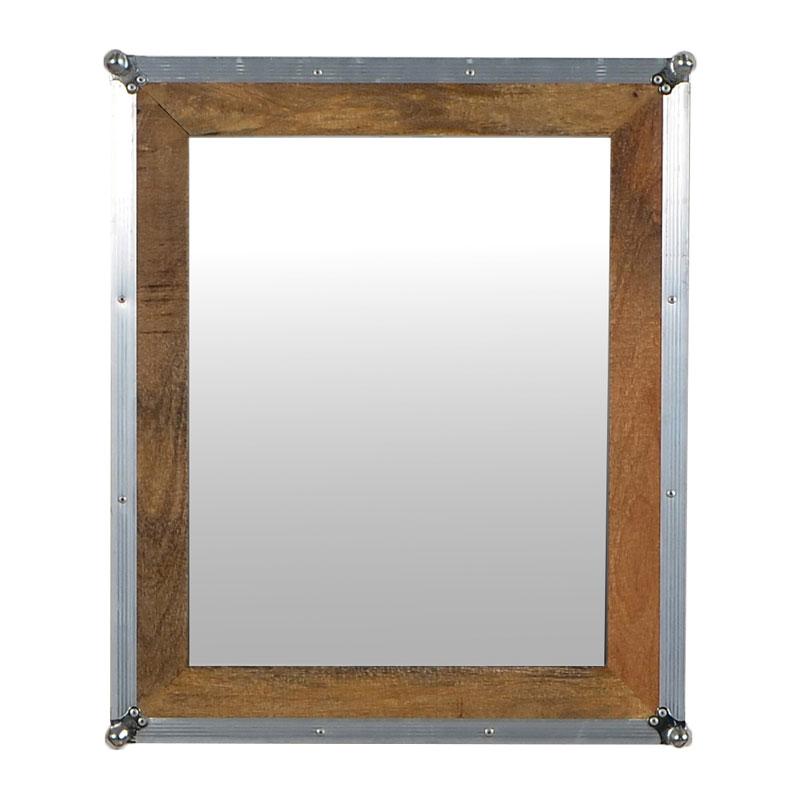 Vierkante spiegel met zilverkleurige lijst