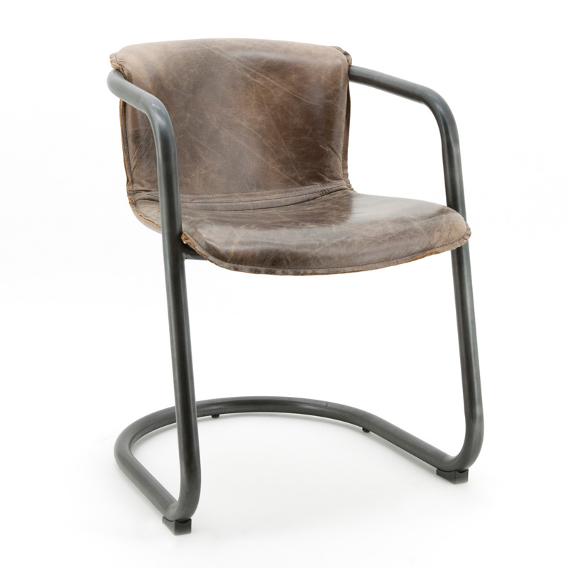 Buisframe stoel van echt leder