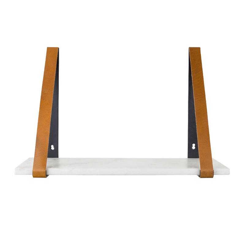 Plank wit met leer
