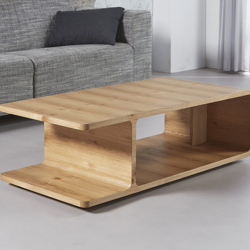 Rechthoekige salontafel van eikenhout