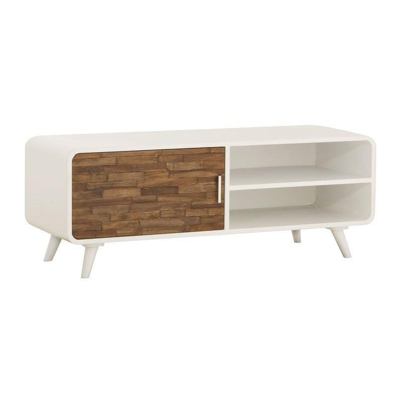 Design tv-meubel met teak en hoogglans