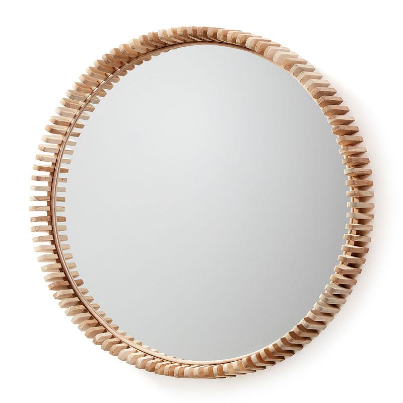 Ronde spiegel met hout