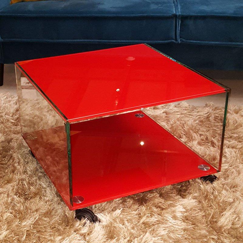 Salontafel rood glas