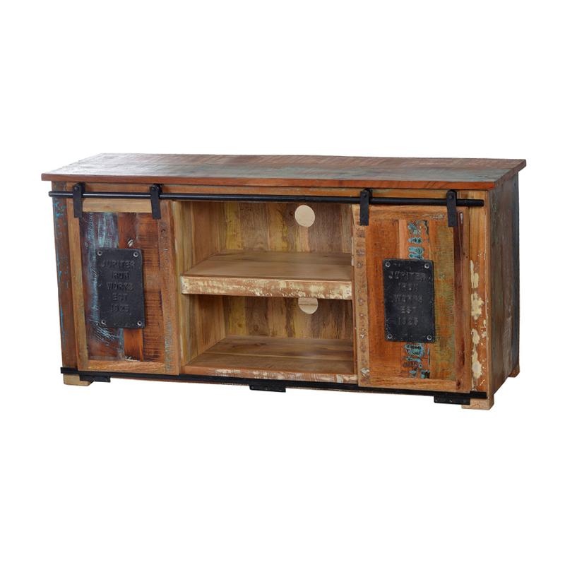 Hoog TV-meubel van gekleurd hout