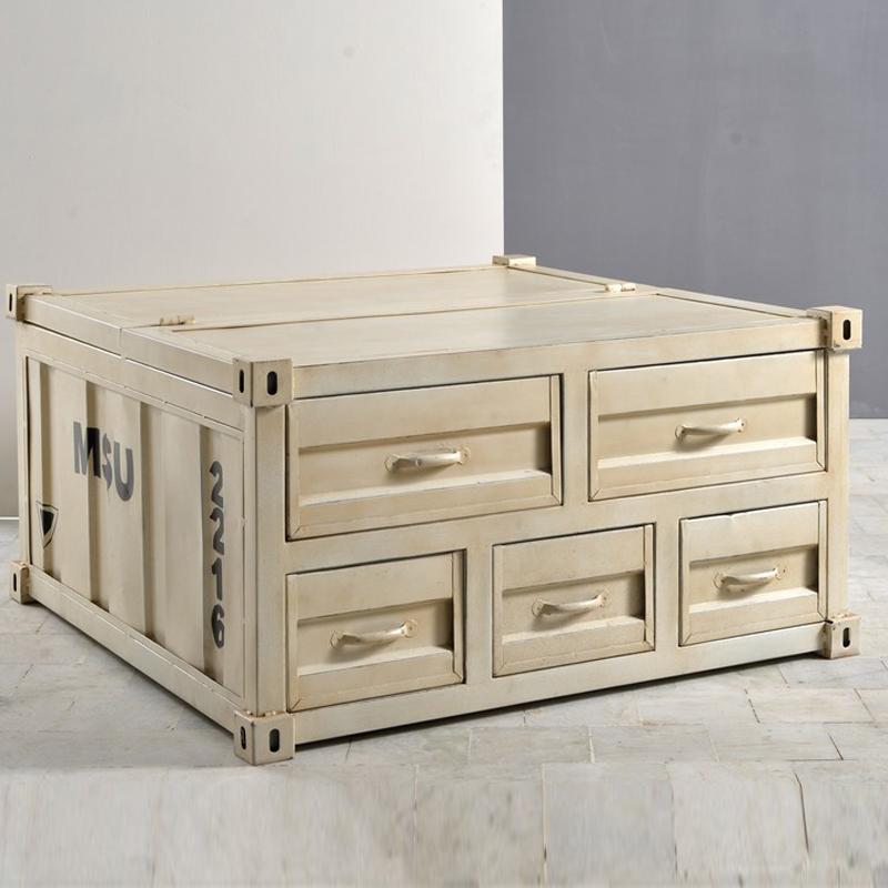 Vierkante salontafel van licht hout