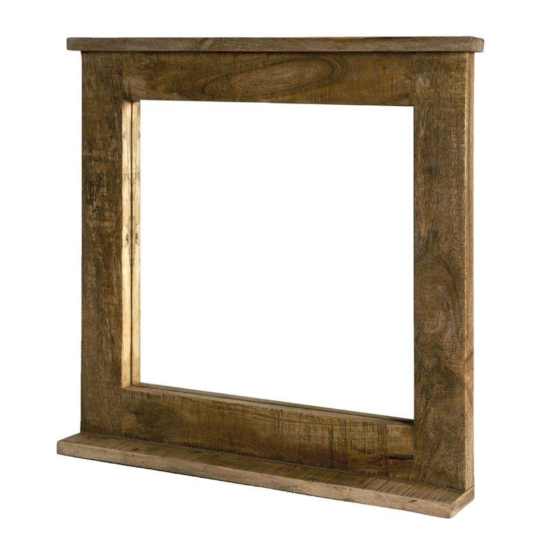 Landleijke spiegel met houten lijst