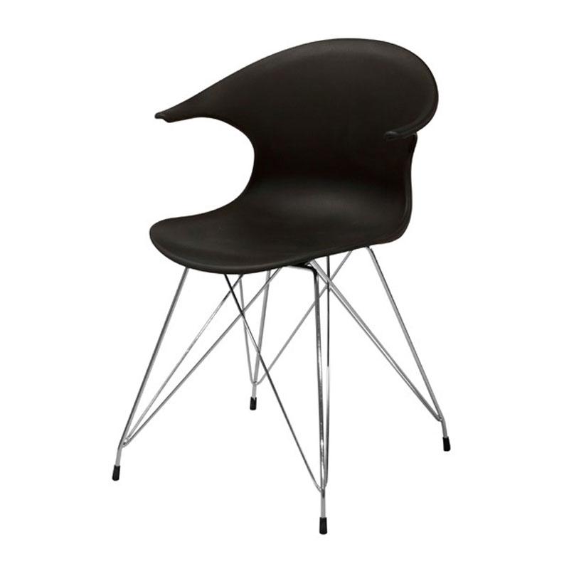 Zwarte design eetkamerstoel met metaal