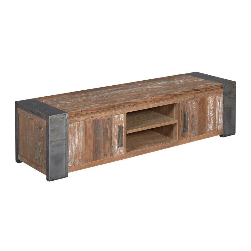 Industriele TV meubel van teak hout